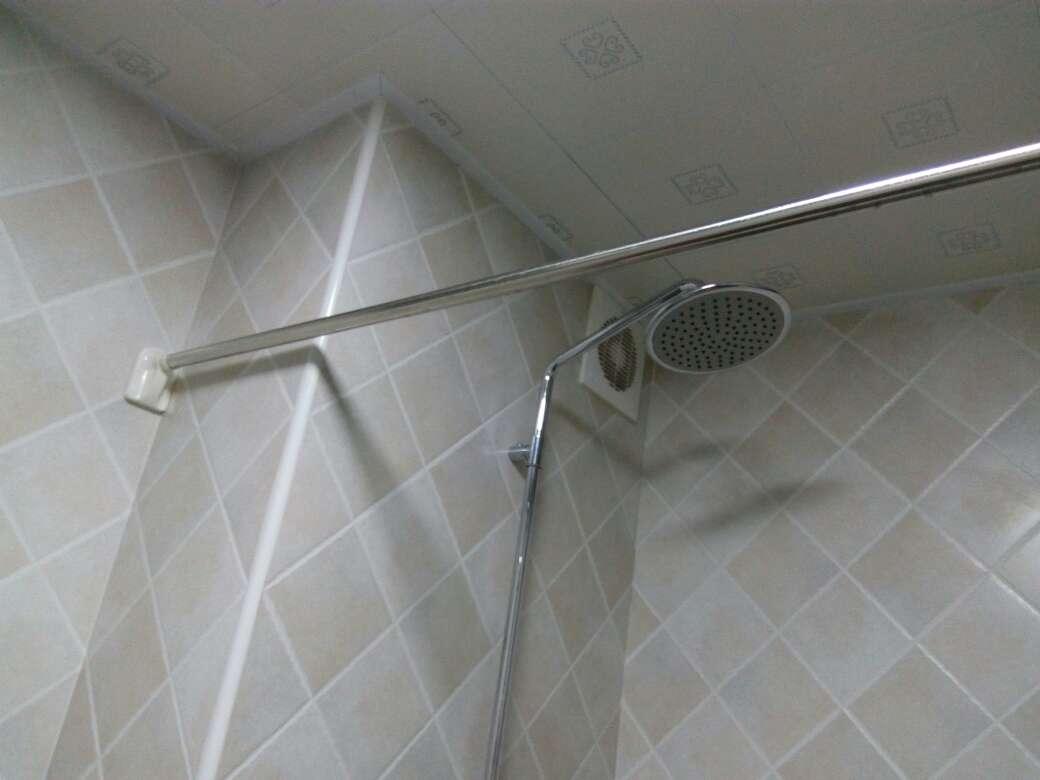 加厚不锈钢伸缩杆免打孔浴帘杆窗帘杆浴室杆晾衣架晾衣杆挂衣架配增强加固端头款110cm-200cm