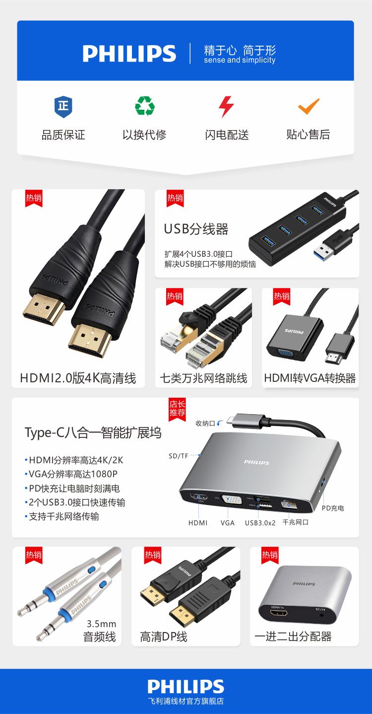 飞利浦USB分线器3.0高速扩展一拖四多接口笔记本台式电脑键盘鼠标HUB转换器0.2米SWR1529A/93(PHILIPS)