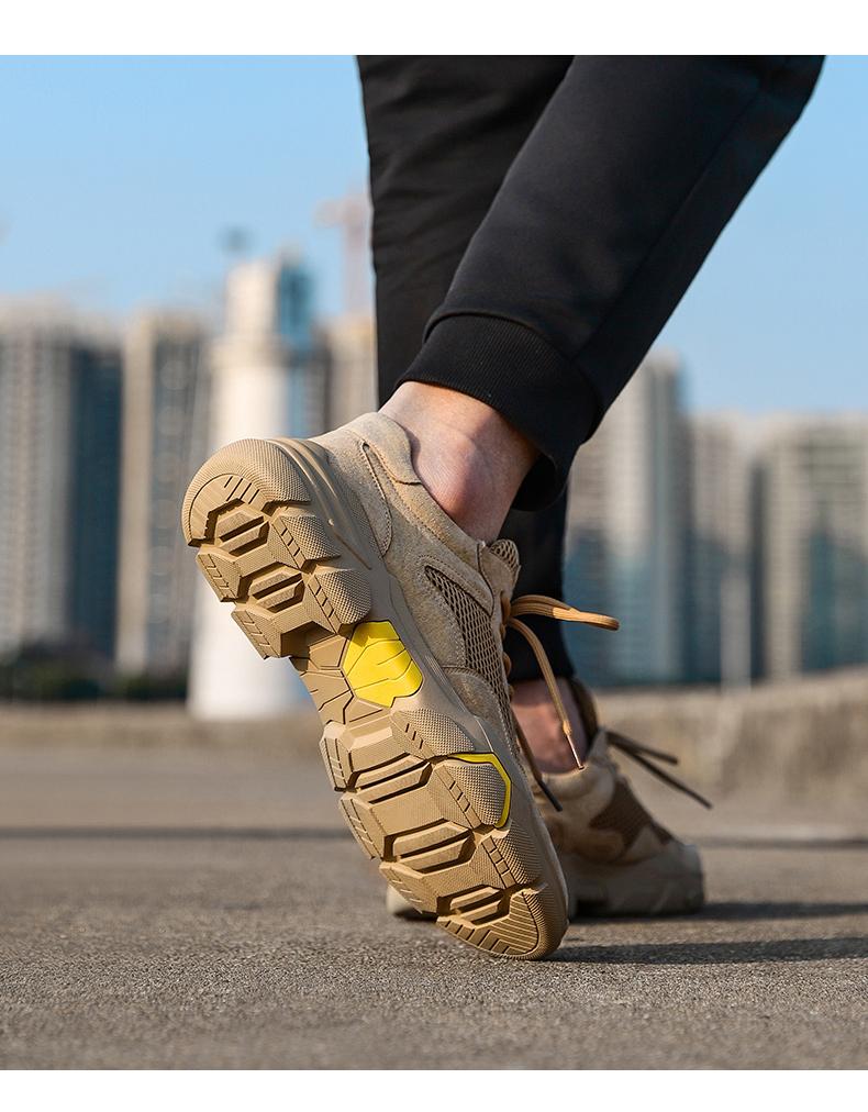骆驼(CAMEL)运动休闲鞋透气工装潮流百搭男网鞋A012208110卡其41