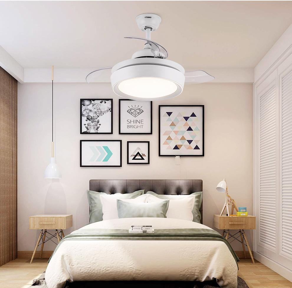 雷士照明(NVC)简约现代餐厅风扇吊灯隐形风扇灯吊扇灯客厅电扇灯带灯吊扇卧室家用灯具通风换气 32瓦+直流变频+六档风速+可反转+无极调光