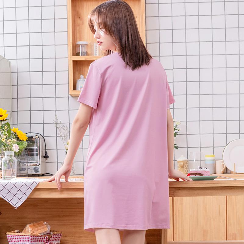 都市丽人睡衣女2020春夏款家居服睡裙简约时尚舒适短袖短裙可外穿家居服2H0604浅兰XL