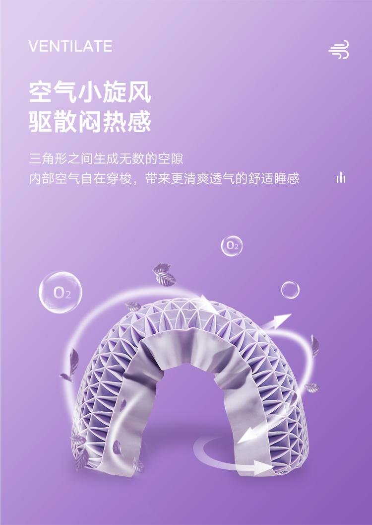 大朴(DAPU)枕芯 A类枕头 蜂巢释压波浪枕 TPE高弹记忆枕 透气枕头 波浪成人款 浅紫色