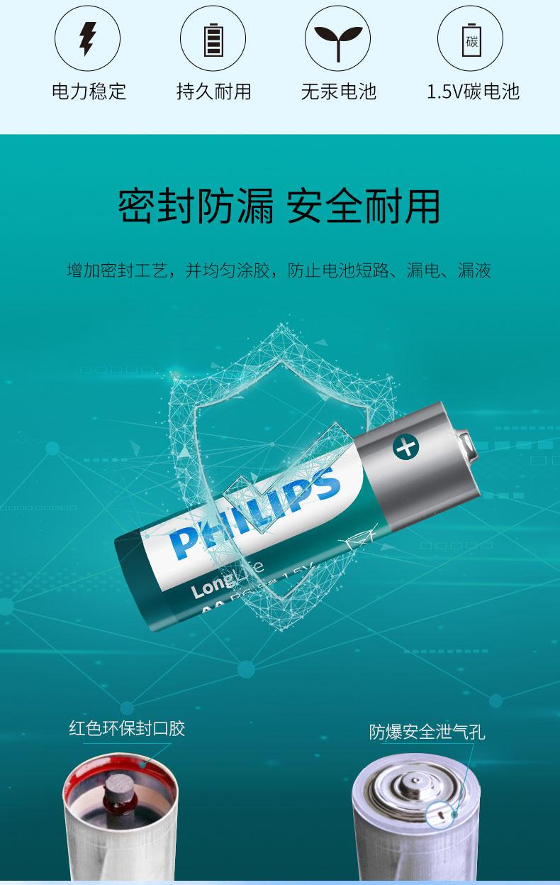 飞利浦(PHILIPS)7号电池七号碳性电池40粒盒装低功耗一次性干电池适用玩具/遥控器/闹钟/计算器/电子秤/门铃