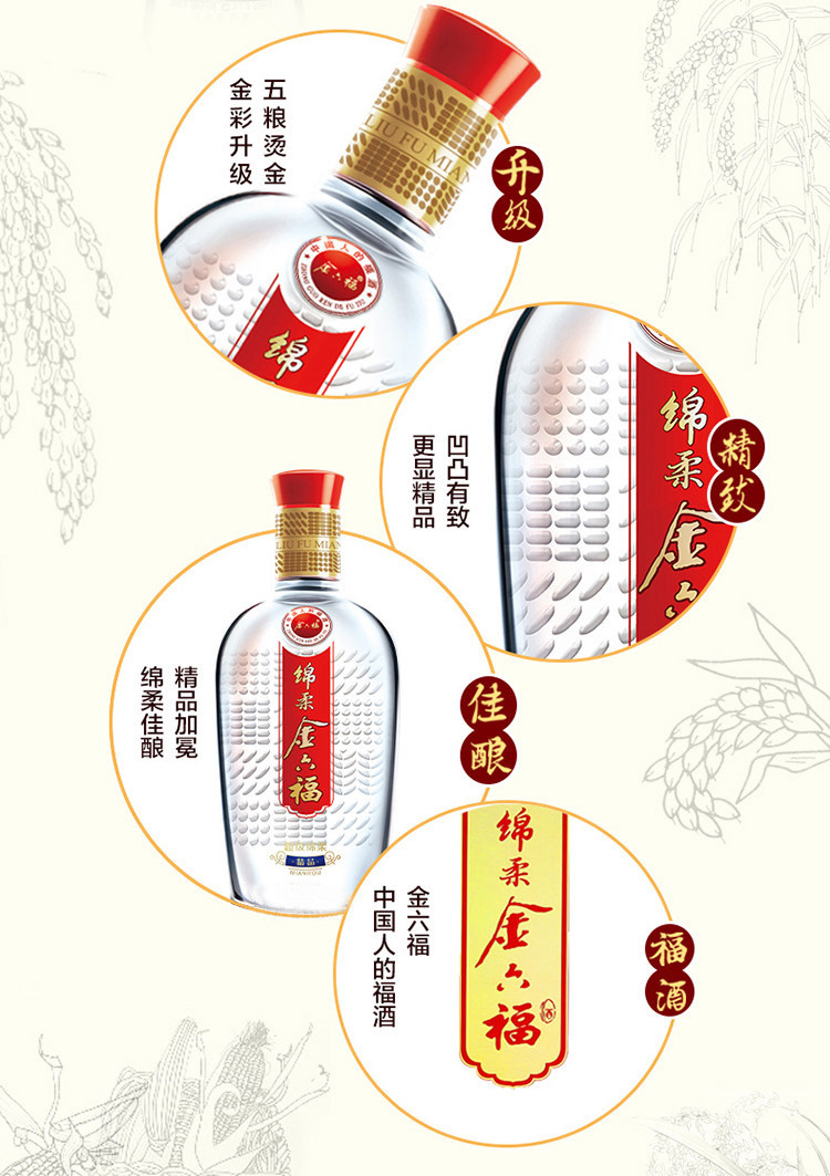 金六福 超级绵柔精品50度500ml*6 整箱装高度白酒(内含三个礼品袋)