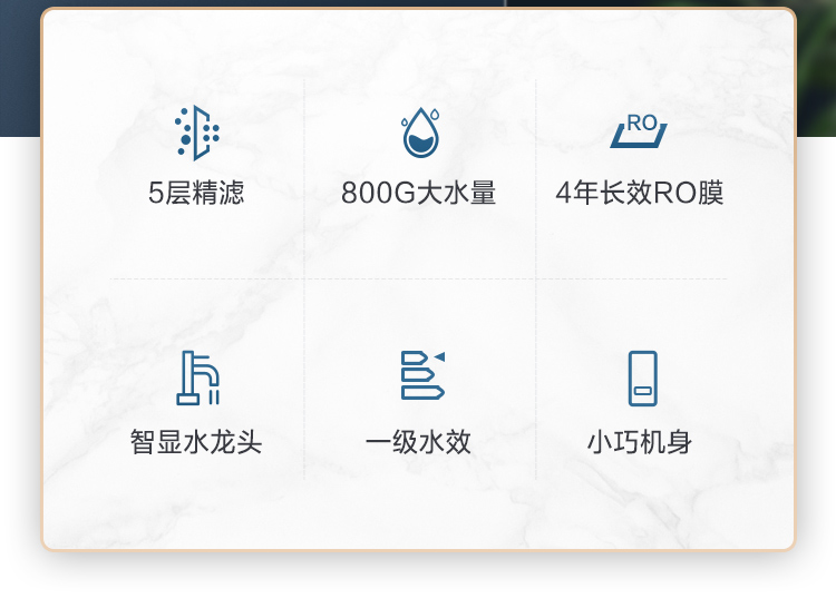 美的( Midea)京品智能家电白泽800G智能升级版 净水器 厨下式家用直饮RO反渗透 智能龙头 MRO1785D-800G