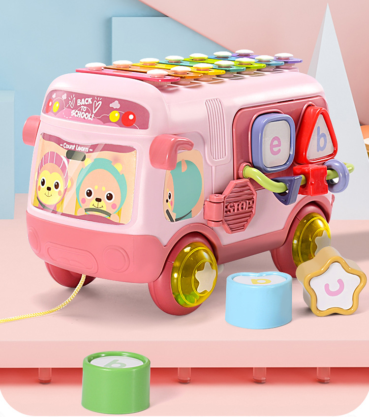 38062-萌小鹰(SPROUT)婴儿玩具益智巴士敲敲琴多功能早教开发智力动手动脑玩具积木绕珠 益智巴士敲敲琴-详情图