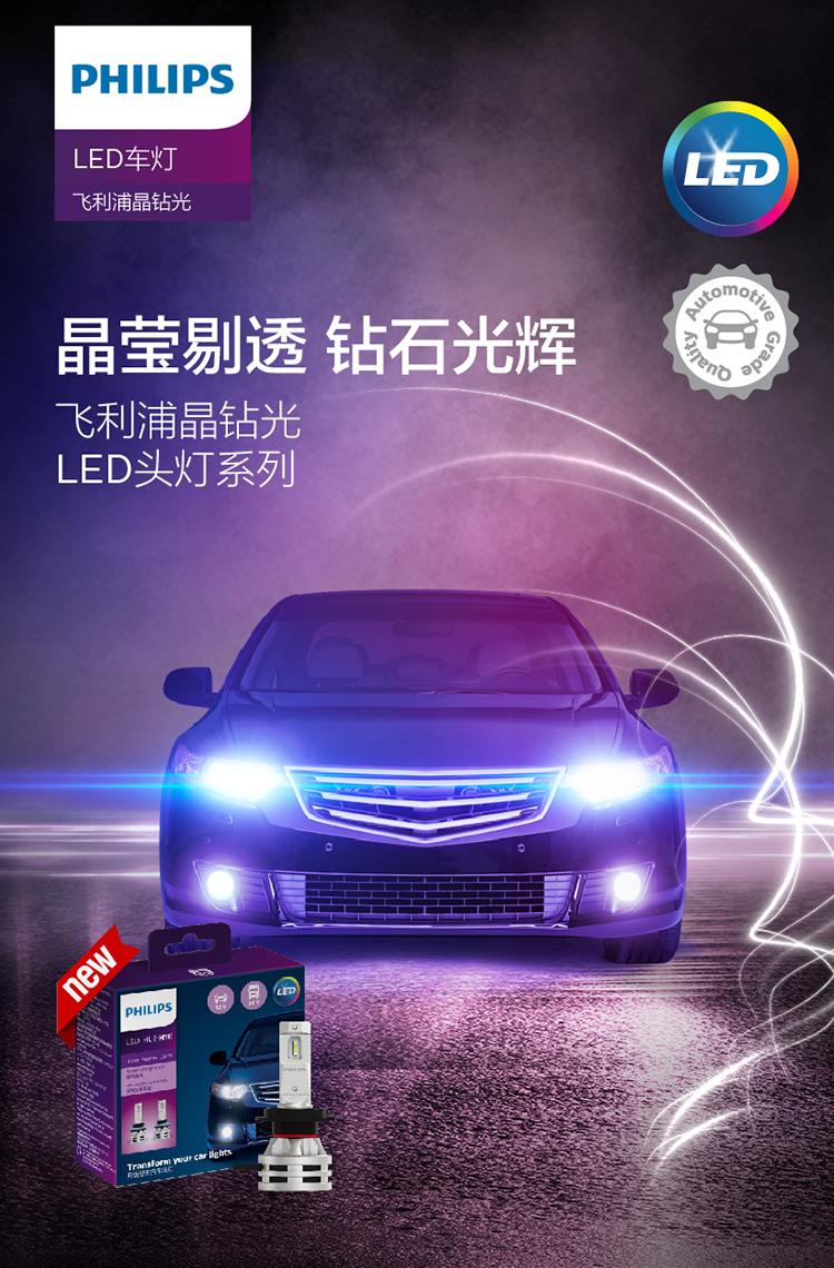 飞利浦(PHILIPS)晶钻光 汽车LED大灯 H11 LED汽车车灯 无损安装远光灯近光灯 6500K时尚白光 双支装