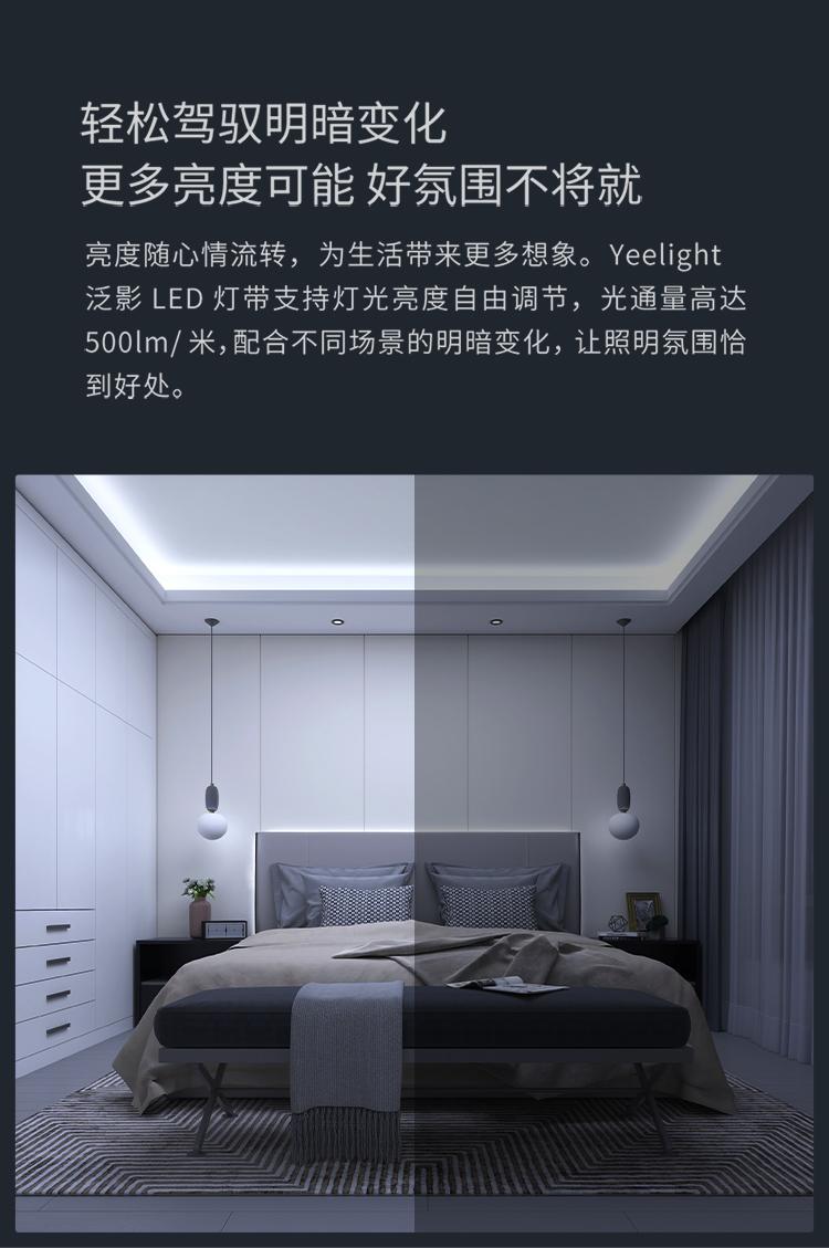 Yeelight泛影LED智能灯带客厅餐厅吊顶灯条暗槽灯带高亮贴片软灯条小米米家APP智能调光语音控制 5米套装