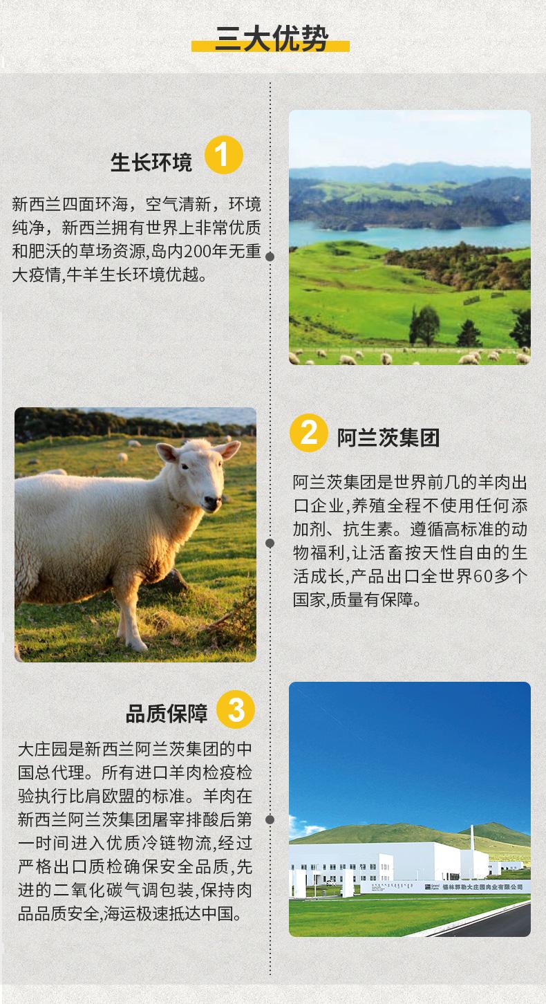 大庄园 羔羊腩羊肉 烧烤煲汤火锅食材 烤箱适配  1.2kg 生鲜羊肉