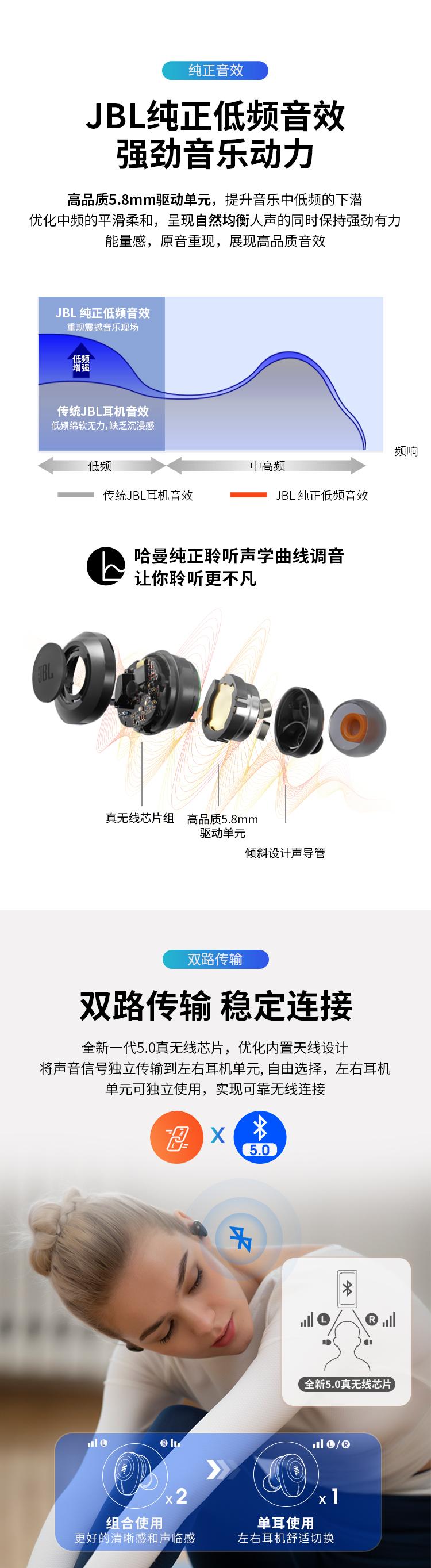 JBL TUNE125TWS 真无线蓝牙耳机 入耳式音乐耳机 双路连接 苹果华为小米手机通用 T120TWS升级版 玉石白