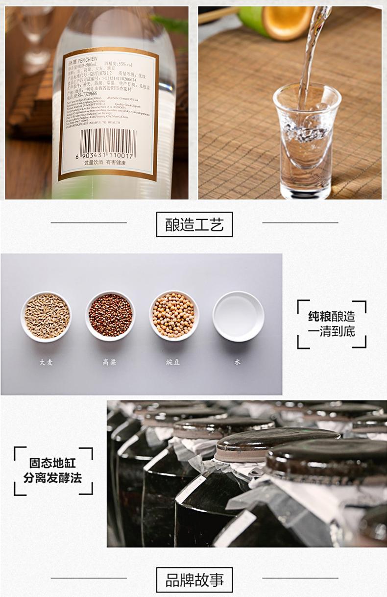 38178-汾酒 白酒  出口玻汾  清香型  高度白酒  500ml*6瓶装-详情图