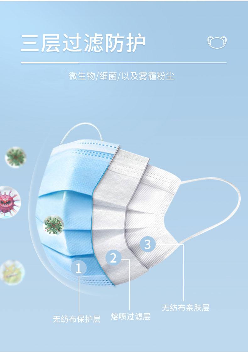 掌护医用外科口罩成人耳挂式三层无菌一次性医用口罩50片盒装