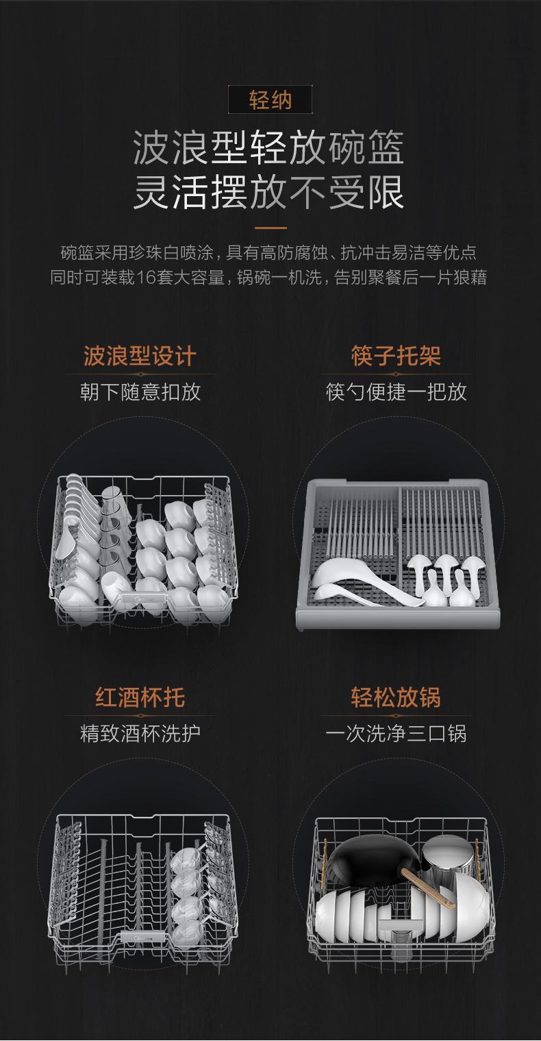 38154-美的(Midea)16套大容量 嵌入式 三星消毒 双驱变频 分层洗 极光洗碗机 独立式 智能家电 全自动刷碗机JV800-详情图