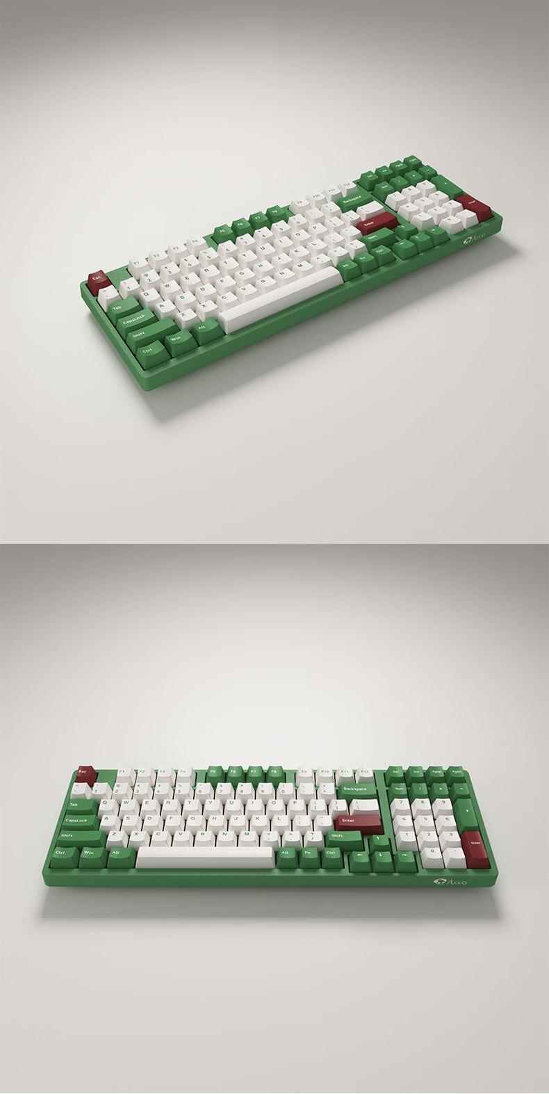 AKKO 3098 DS 红豆抹茶 机械键盘 有线键盘 游戏键盘 电竞 98键 全尺寸 无光 吃鸡键盘 AKKO V2粉轴