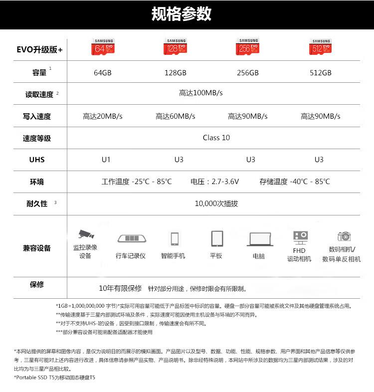 三星(SAMSUNG)256GB TF(MicroSD)存储卡 U3 C10 4K EVO升级版+内存卡 读速100MB/s 写速90MB/s赠SD适配器