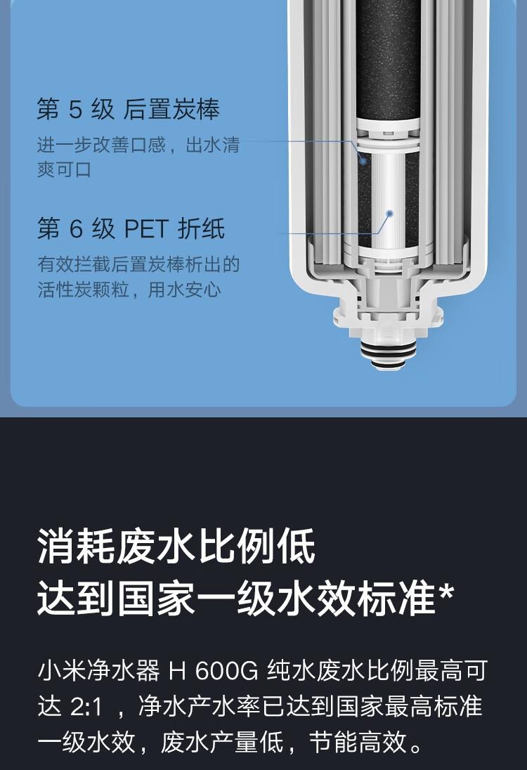 小米净水器家用净水机H600G 双芯六级过滤 无罐直饮水 RO反渗透 双出水龙头 米家APP智能互联