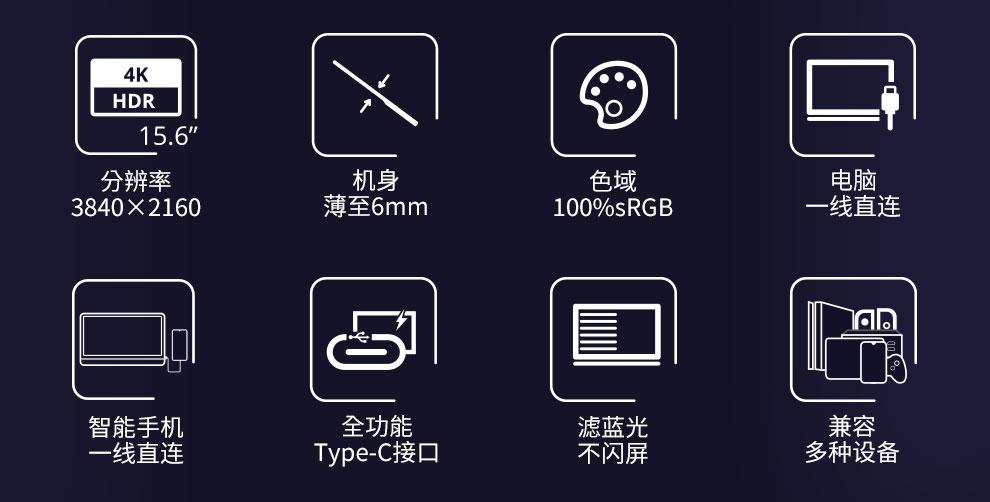 显为(XIAN WEI)15.6英寸便携式显示器4K IPS笔记本副屏PS4直连Switch手机电脑扩展分屏外接屏幕