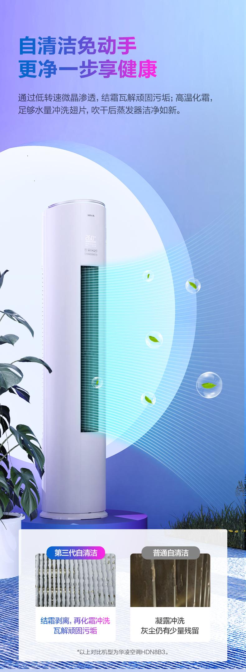 【美的集团出品】新变频冷暖大2匹3匹华凌空调柜机 手机智能 客厅立柜式空调 2匹KFR-51LW/N8HF3