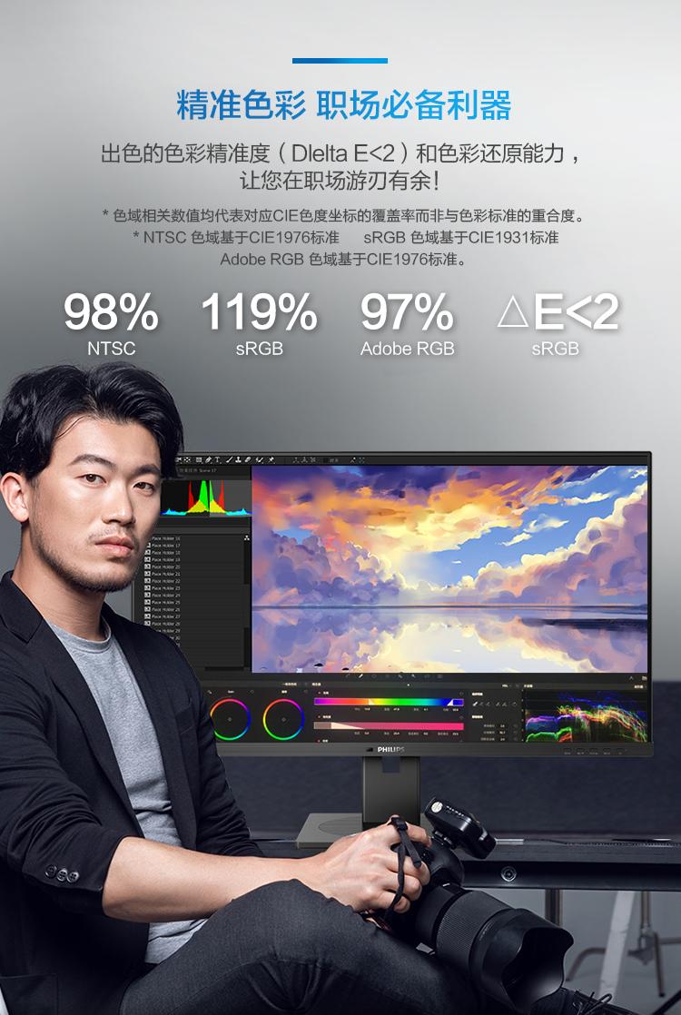 飞利浦 31.5英寸 4K高清 低蓝光 旋转升降 内置音箱 智能光感 电脑显示器 328B1