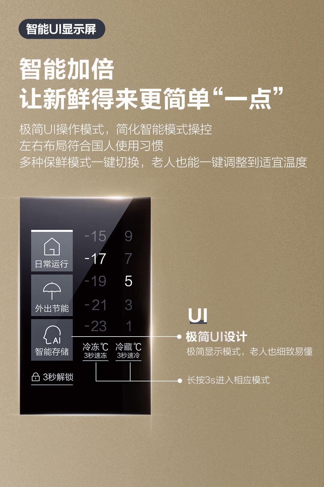 海尔 (Haier )480升风冷无霜变频智能对开门双门冰箱90°悬停门双变频金色BCD-480WBPT
