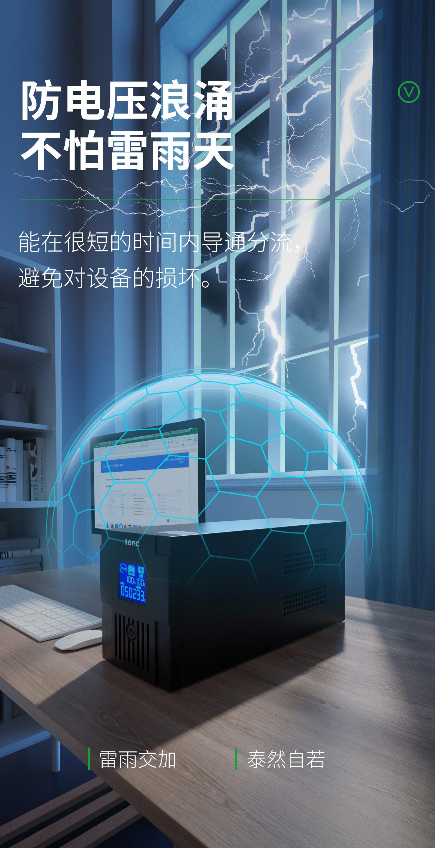 绿巨能(llano)ups不间断电源 UPS电源家用  2000VA/1200W 服务器电脑后备电源 应急备用电源 9Ah双电池