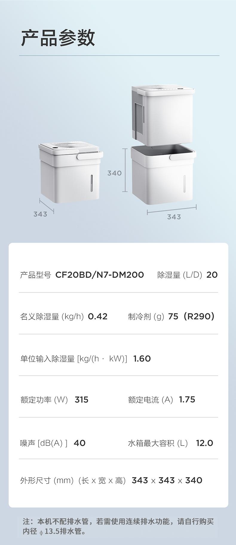 37775-美的(Midea)除湿机/抽湿机 20升/天 手机智控家用小方物吸湿器干衣净化 美的智能极地系列 CF20BD/N7-DM200-详情图
