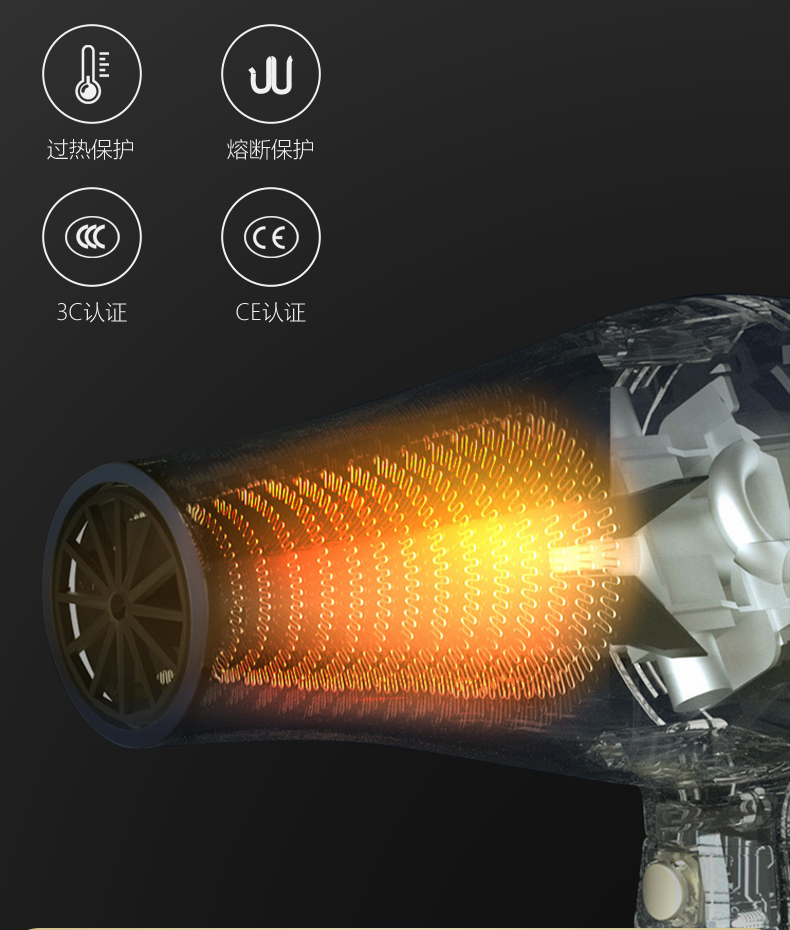 康夫(CONFU)电吹风机家用大功率2300W吹风筒 恒温护发理发店发廊款大风力速干冷热风速干电风筒 KF-8905