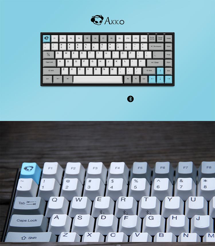 AKKO3084无线蓝牙双模机械键盘Cherry樱桃轴多设备笔记本键盘IPAD键盘84键茶轴