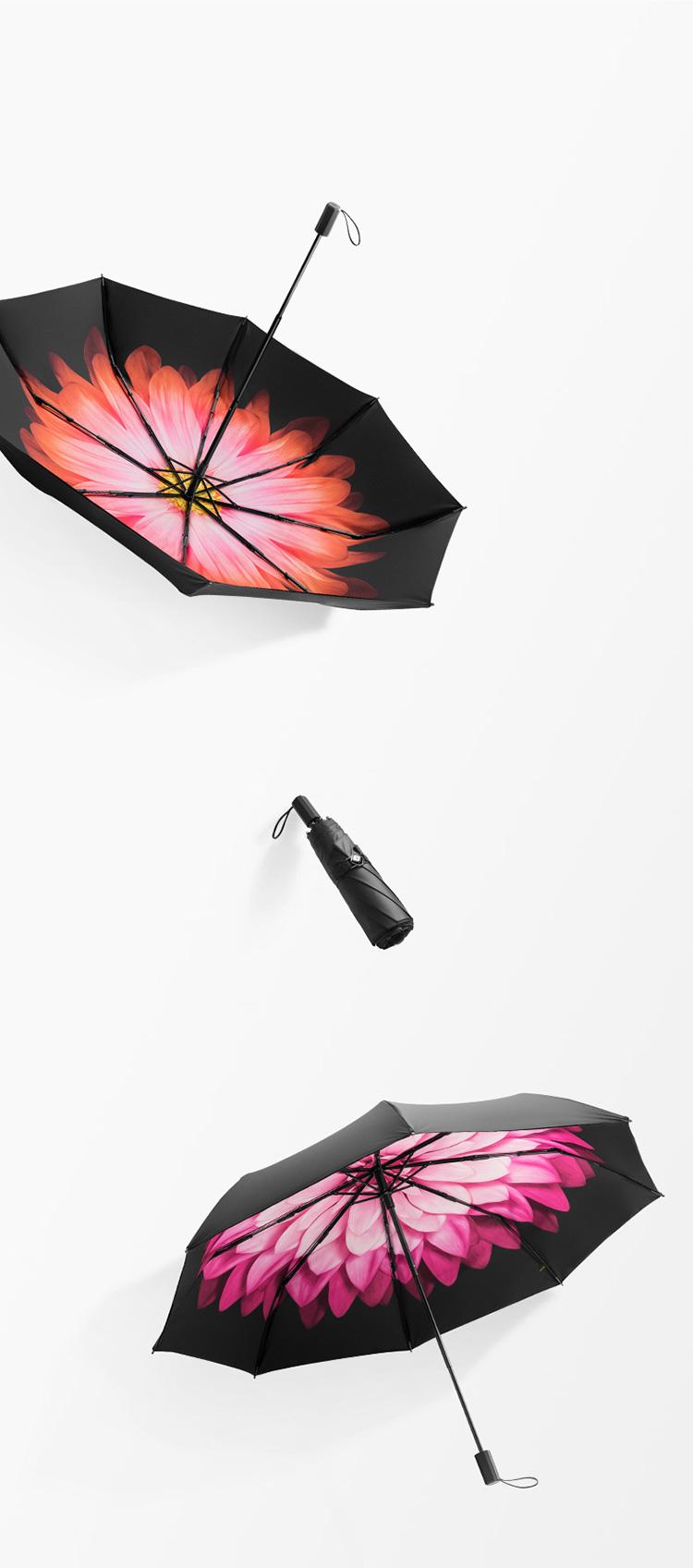 蕉下太阳伞防紫外线雨伞双层防晒伞折叠晴雨伞遮阳伞女小黑伞49cm*8骨岚朵