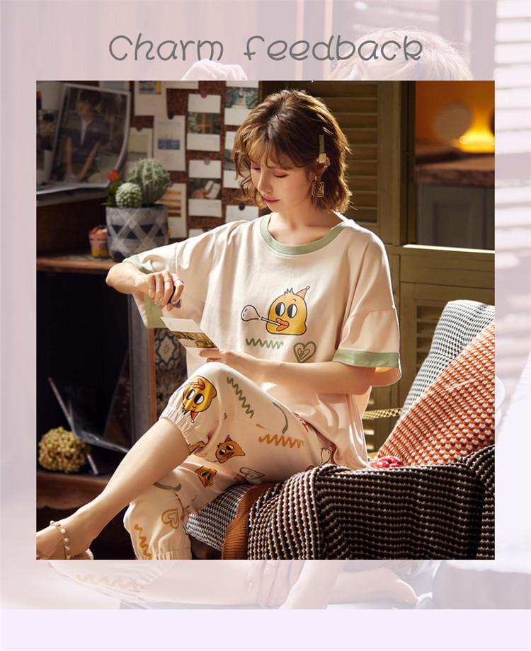 北极绒睡衣女可外穿夏季纯棉套装七分裤两件套韩版家居服夏季短袖宽松薄款5081杏色L