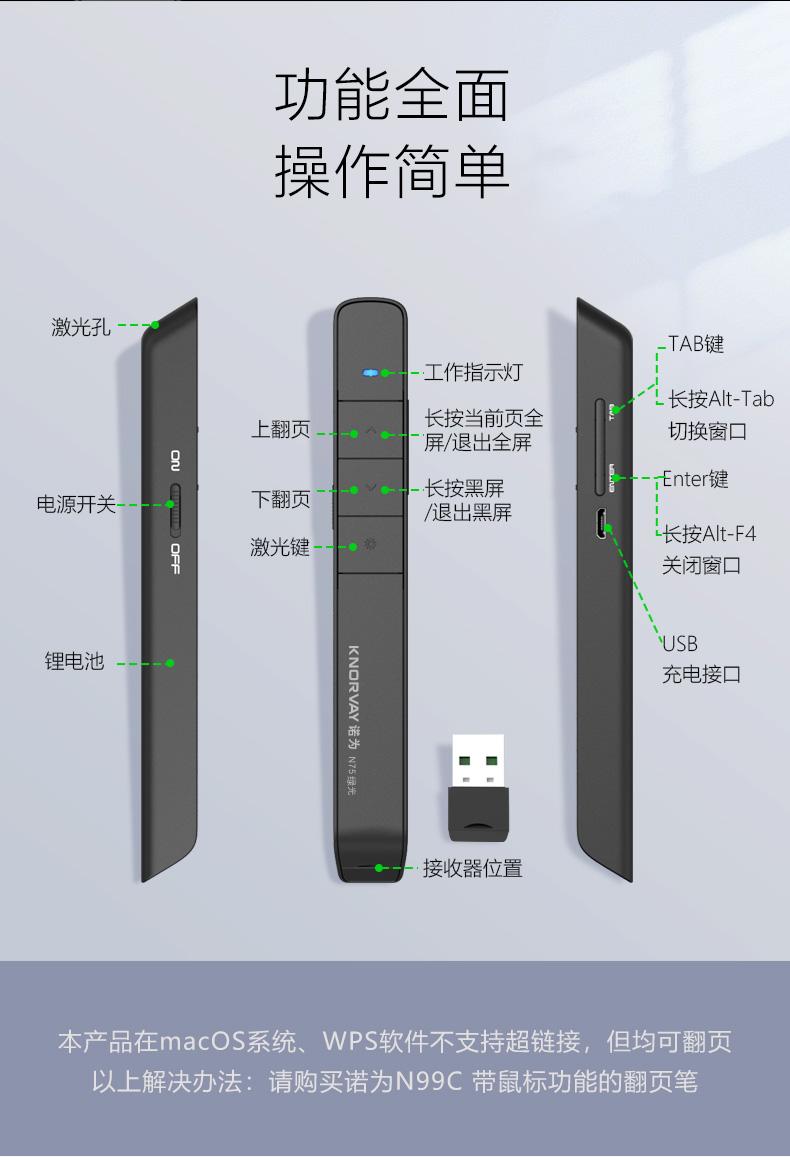 诺为 100m远控/醒目绿光/充电翻页笔 电子教鞭 翻页笔PPT激光笔 演示器 演示笔 N75C 绿光 白色