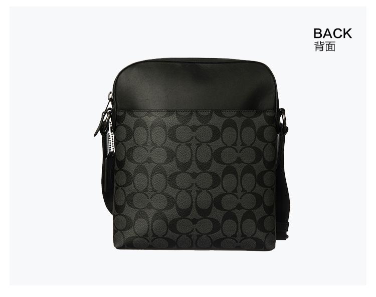 蔻驰 COACH 奢侈品 男士小号斜挎包灰黑色PVC F73336 QBMI5