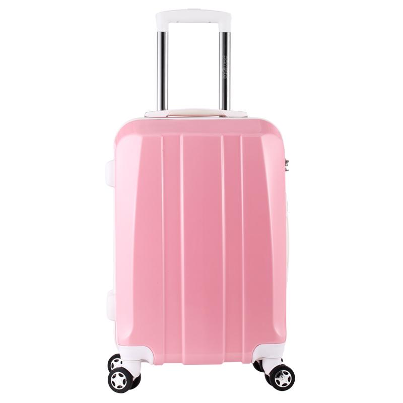 宝丽(Parrote)拉杆箱PC轻便行李箱万向飞机轮女士旅行登机箱 B1VC093 粉色 20英寸-京东