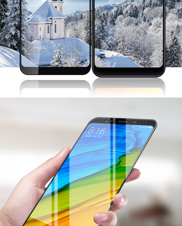 KOLA 红米5钢化膜 手机贴膜全屏覆盖钢化玻璃膜 适用于小米红米5 黑色-京东