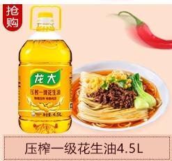龙大 压榨一级 食用油 特香花生油 4.5L-京东