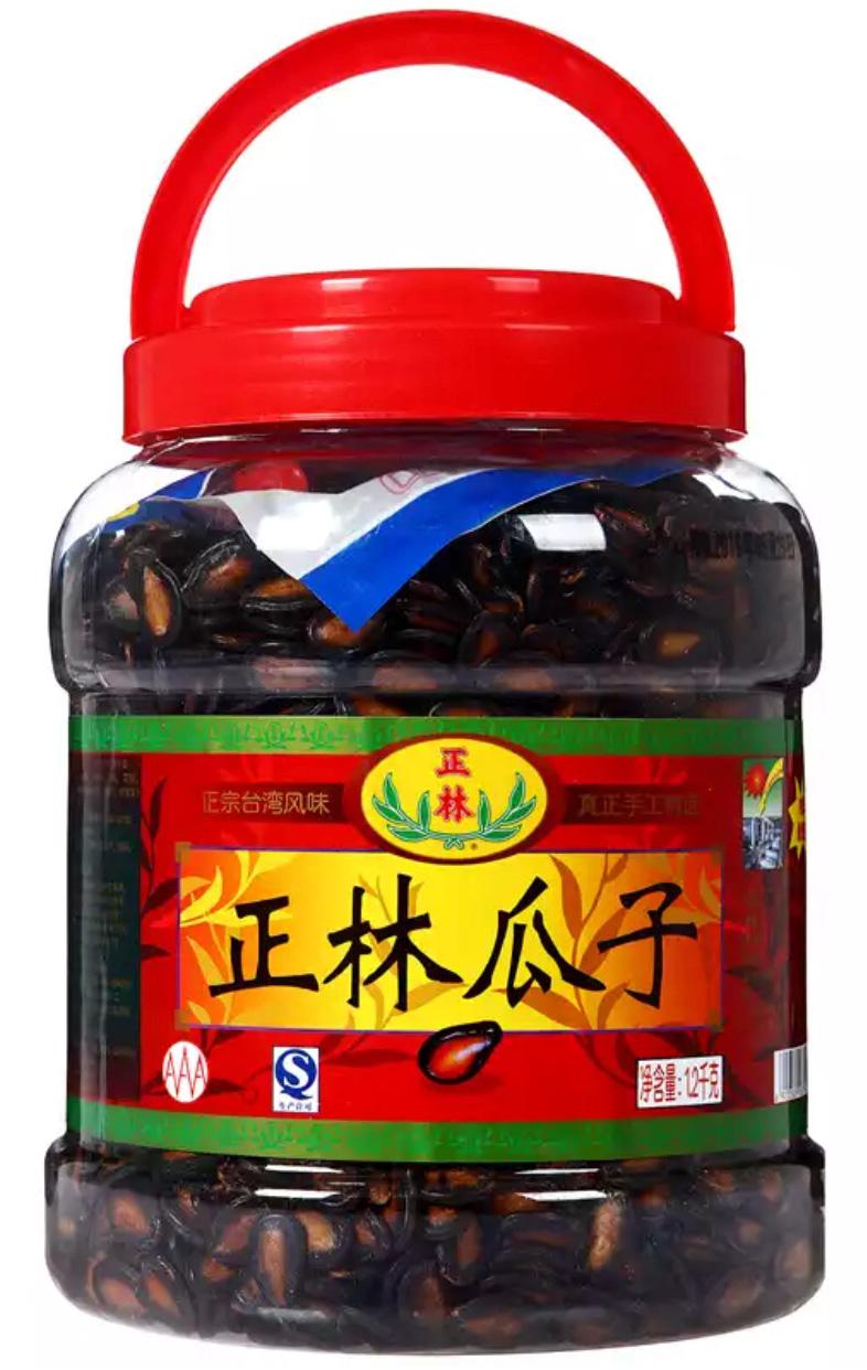 正林 休闲零食 坚果炒货 3A黑瓜子1200g/桶-京东
