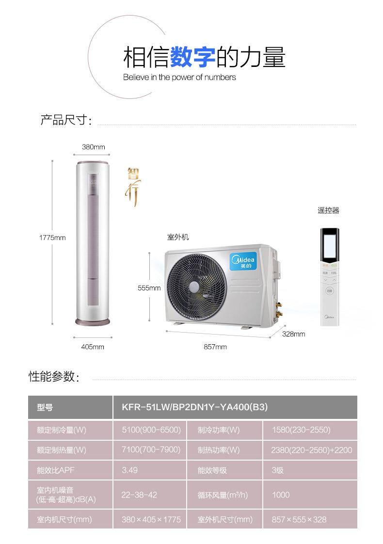 美的(Midea)KFR-51LW/BP2DN1Y-YA400(B3)大2匹变频空调柜机客厅冷暖立式空调-我们