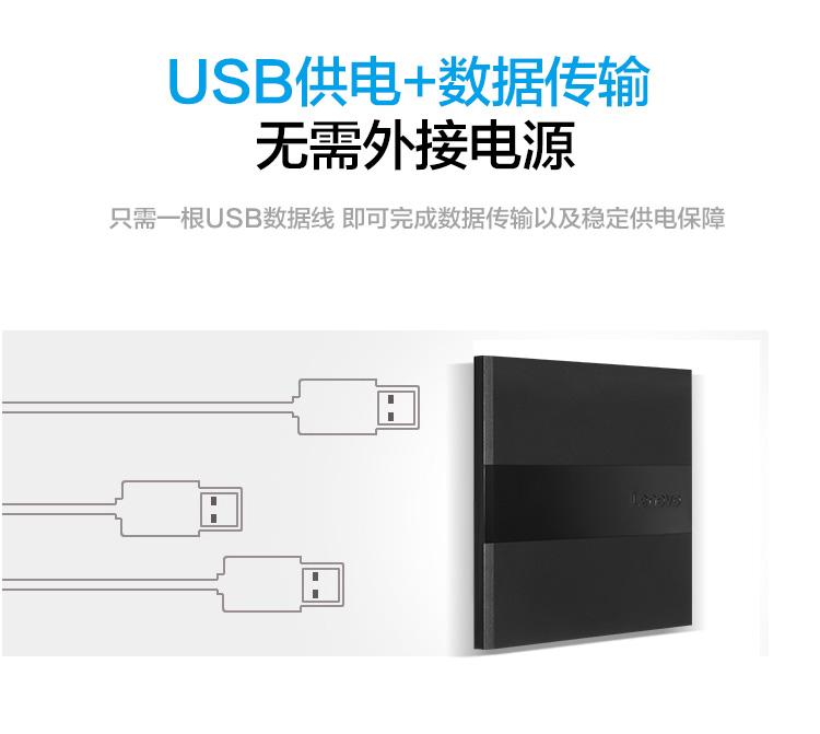 联想(Lenovo)8倍速 USB2.0 外置光驱 DVD刻录机 移动光驱 黑色(兼容Win7/8/10/XP/苹果MAC双系统/DB75-Plus