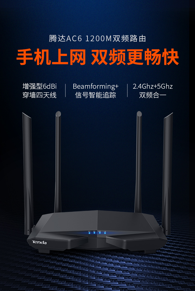 Tenda Tendaac6 1200m Dual Band Wireless Router Wifi Wall Ac6 Technical
