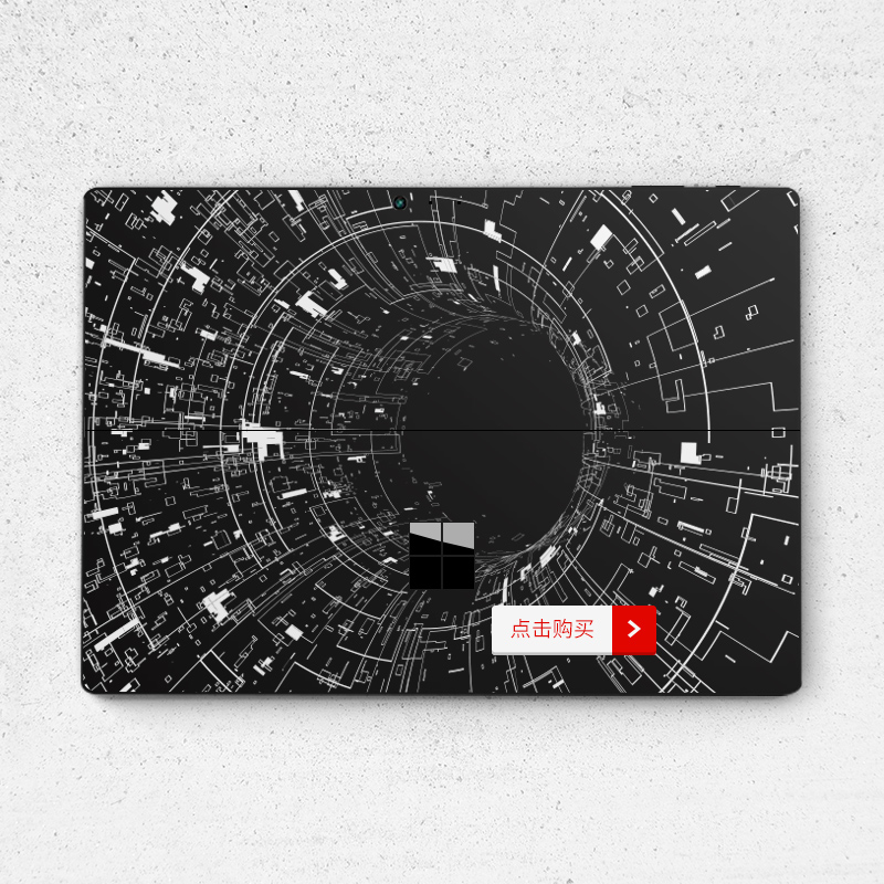 Dán surface  SkinAT New Surface Pro Surface Pro 6 hoạ tiết trắng nền đen - ảnh 9