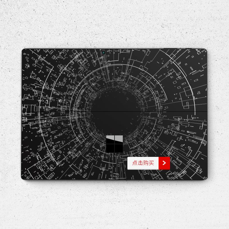 Dán surface  SkinAT New Surface Pro Surface Pro 6 hoạ tiết trắng nền đen - ảnh 3