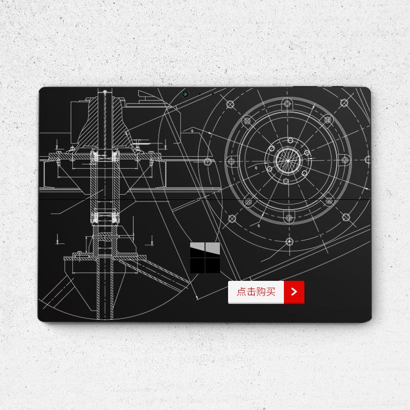 Dán surface  SkinAT New Surface Pro Surface Pro 6 hoạ tiết trắng nền đen - ảnh 2