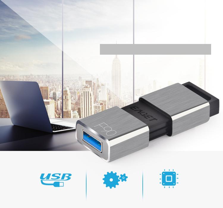忆捷(EAGET)F90高速USB3.0U盘16G全金属防尘防震电脑车载电视通用U盘耀光灰色-京东