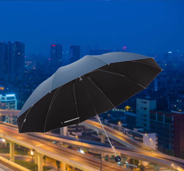 [Jingdong supermarket] heaven umbrella black rubber to strengthen the reinforcement three fold sunny umbrella 33188E blue gray - Jingdong