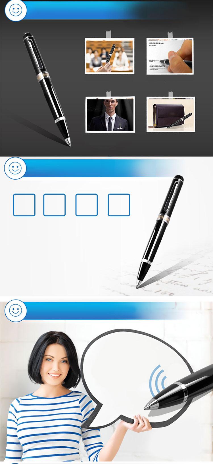 Newman (Newsmy) RV96 8G black digital pen-shaped recording pen professional micro-HD noise reduction MP3 player - Jingdong