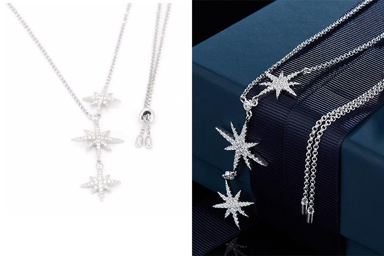 APM MONACO女士时尚潮流三颗流星锆石银项链 AC3350OX-京东