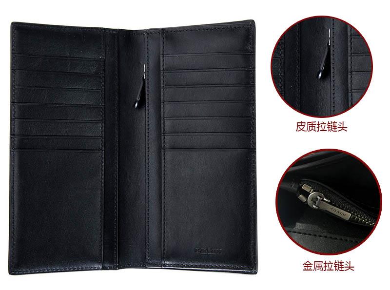 COACH 蔻驰 男士钱夹 黑色皮质长款对折钱包 F75365 BLK (75365 BLK)-京东