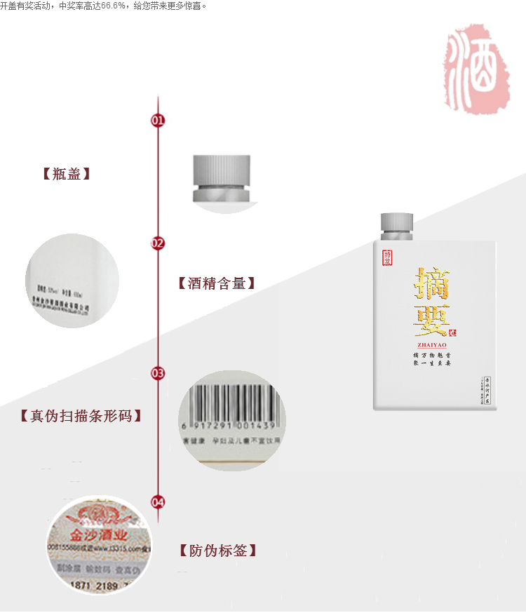 金沙回沙酒摘要 53度500ml 贵州特产酱香型白