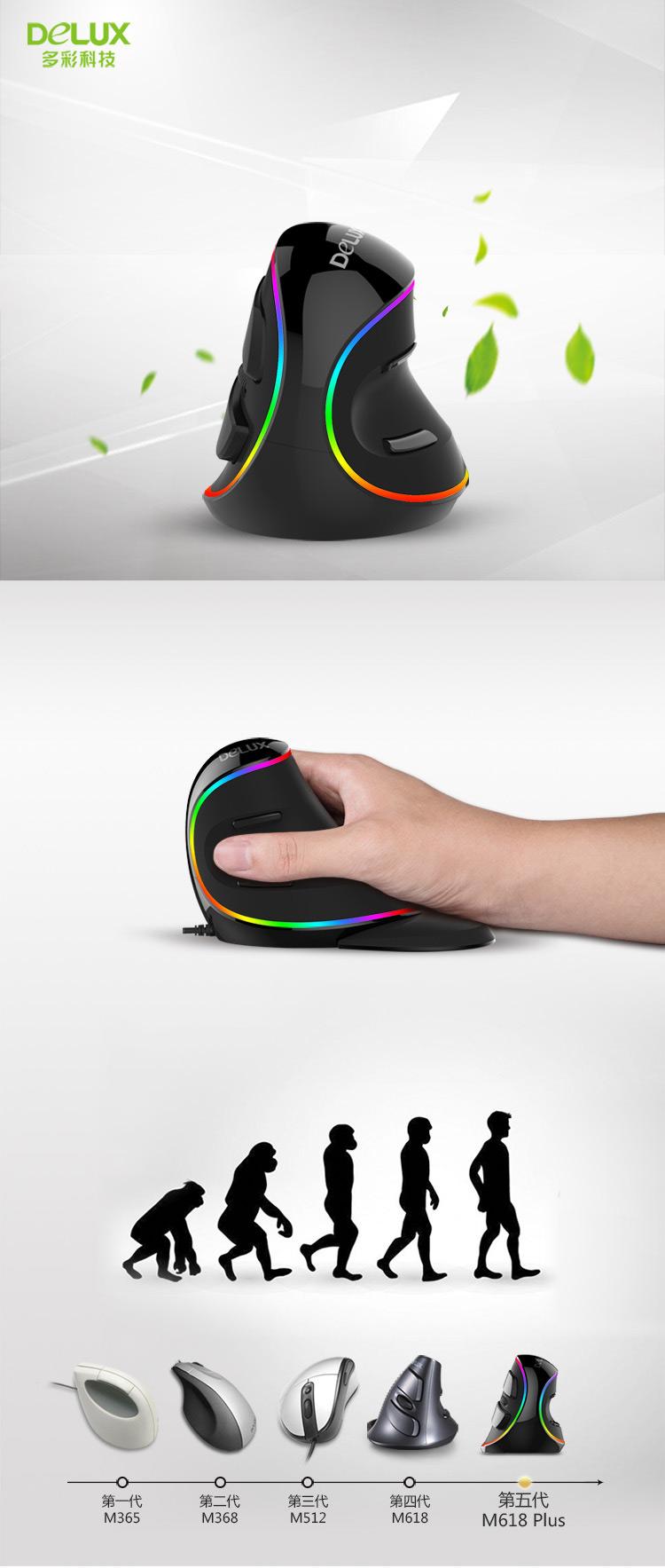 多彩(Delux)M618Plus有线光电幻彩RGB垂直鼠标 幻彩版-京东