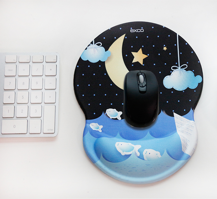 Should fit cool EXCO wrist mouse pad classic ergonomic thickening business home office wrist pad cloth wrist rest non-slip mouse pad MSP016 moon - Jingdong